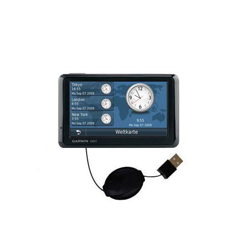 Retractable USB Power Port Ready charger cable designed for the Garmin Nuvi 1390Tpro and uses TipExchange