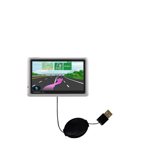 Retractable USB Power Port Ready charger cable designed for the Garmin Nuvi 1450 and uses TipExchange