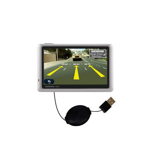 Retractable USB Power Port Ready charger cable designed for the Garmin Nuvi 1450T and uses TipExchange