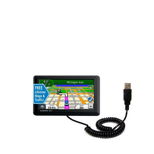 Coiled USB Cable compatible with the Garmin nuvi 1490LMT 1490T
