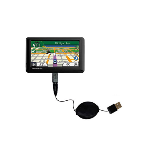 Retractable USB Power Port Ready charger cable designed for the Garmin Nuvi 1490T and uses TipExchange