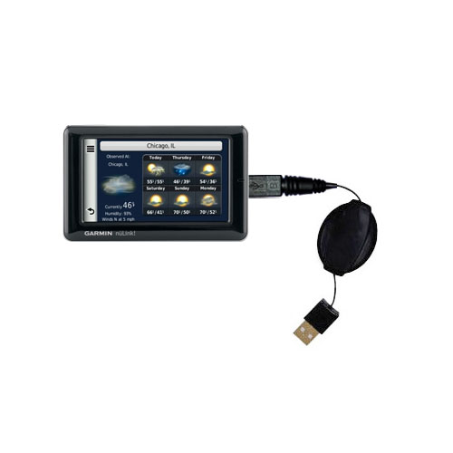 Retractable USB Power Port Ready charger cable designed for the Garmin Nuvi 1695 and uses TipExchange