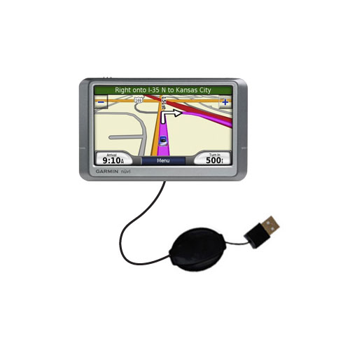 Retractable USB Power Port Ready charger cable designed for the Garmin Nuvi 205W and uses TipExchange
