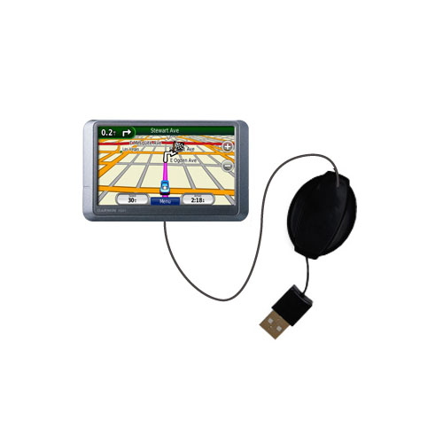 Retractable USB Power Port Ready charger cable designed for the Garmin nuvi 205WT and uses TipExchange