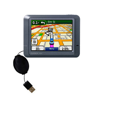 Retractable USB Power Port Ready charger cable designed for the Garmin Nuvi 215 and uses TipExchange