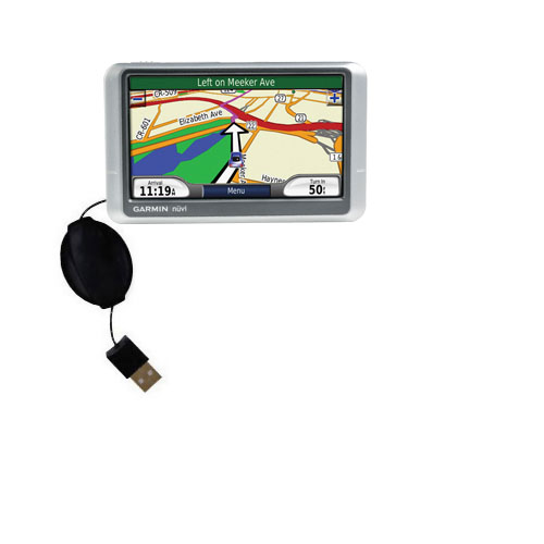 Retractable USB Power Port Ready charger cable designed for the Garmin Nuvi 215W 215T and uses TipExchange