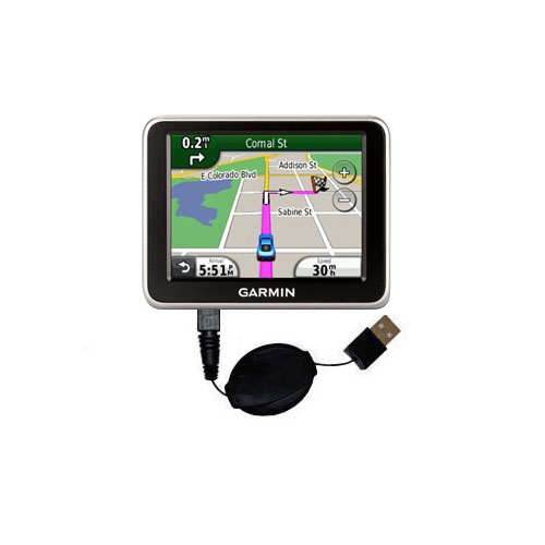 Retractable USB Power Port Ready charger cable designed for the Garmin Nuvi 2240 and uses TipExchange