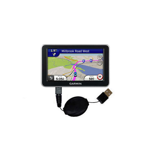 Retractable USB Power Port Ready charger cable designed for the Garmin Nuvi 2300 2310 and uses TipExchange