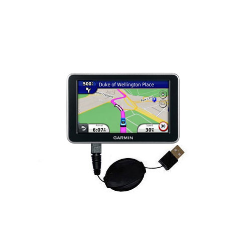 Retractable USB Power Port Ready charger cable designed for the Garmin Nuvi 2310 and uses TipExchange