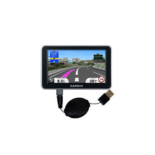 Retractable USB Power Port Ready charger cable designed for the Garmin Nuvi 2340 2350 2360 2360LMT 2370 2370LT and uses TipExchange