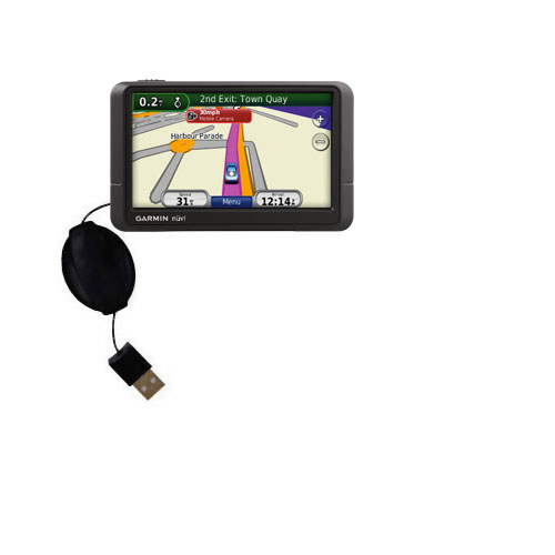 Retractable USB Power Port Ready charger cable designed for the Garmin Nuvi 245 245T 245WT and uses TipExchange