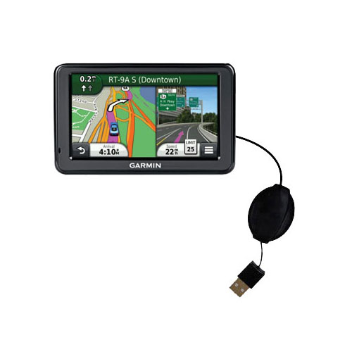 Retractable USB Power Port Ready charger cable designed for the Garmin Nuvi 2455 2475LT 2495LMT 2455LMT and uses TipExchange