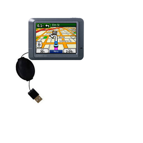 Retractable USB Power Port Ready charger cable designed for the Garmin Nuvi 245T and uses TipExchange