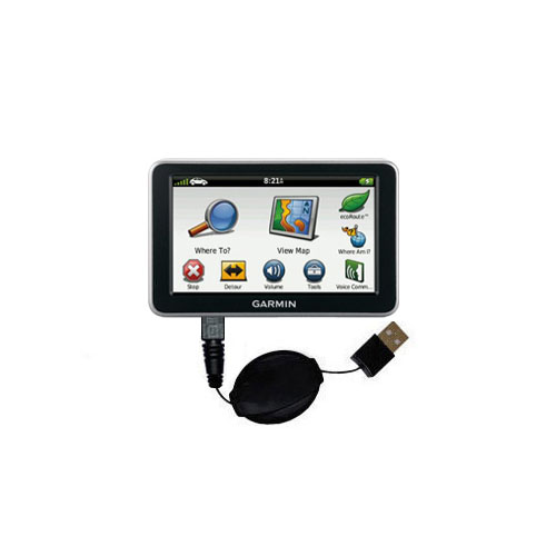 Retractable USB Power Port Ready charger cable designed for the Garmin Nuvi 2460 2450 and uses TipExchange