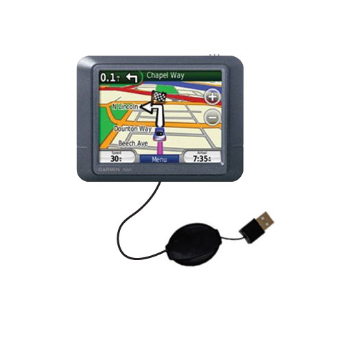 Retractable USB Power Port Ready charger cable designed for the Garmin Nuvi 255 and uses TipExchange