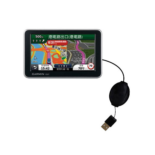 Retractable USB Power Port Ready charger cable designed for the Garmin Nuvi 2555 2595 LMT and uses TipExchange