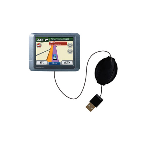 Retractable USB Power Port Ready charger cable designed for the Garmin nuvi 255T and uses TipExchange