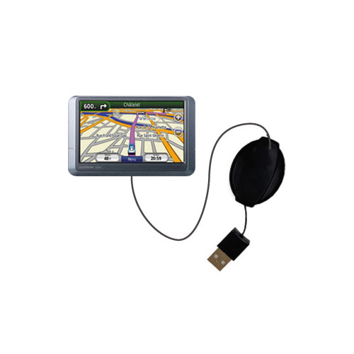 Retractable USB Power Port Ready charger cable designed for the Garmin nuvi 255WT and uses TipExchange