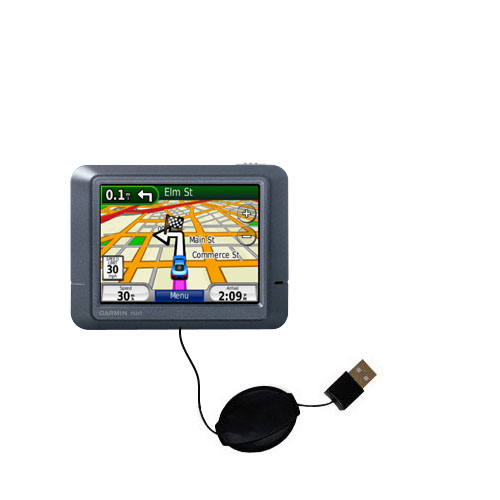 Retractable USB Power Port Ready charger cable designed for the Garmin Nuvi 265T and uses TipExchange