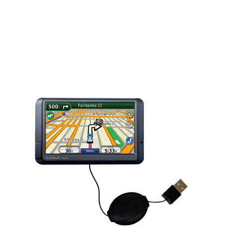 Retractable USB Power Port Ready charger cable designed for the Garmin Nuvi 265WT 265T and uses TipExchange