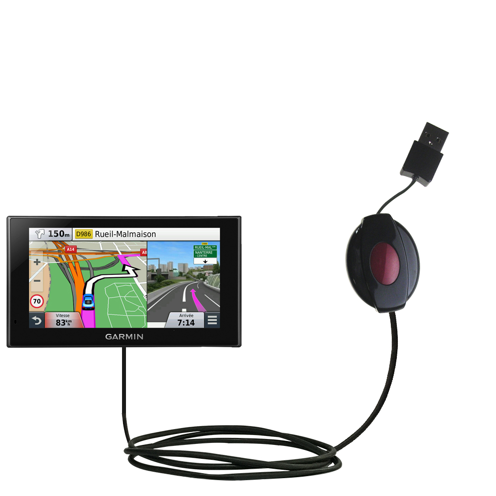Retractable USB Power Port Ready charger cable designed for the Garmin nuvi 2669 / 2689 LMT and uses TipExchange