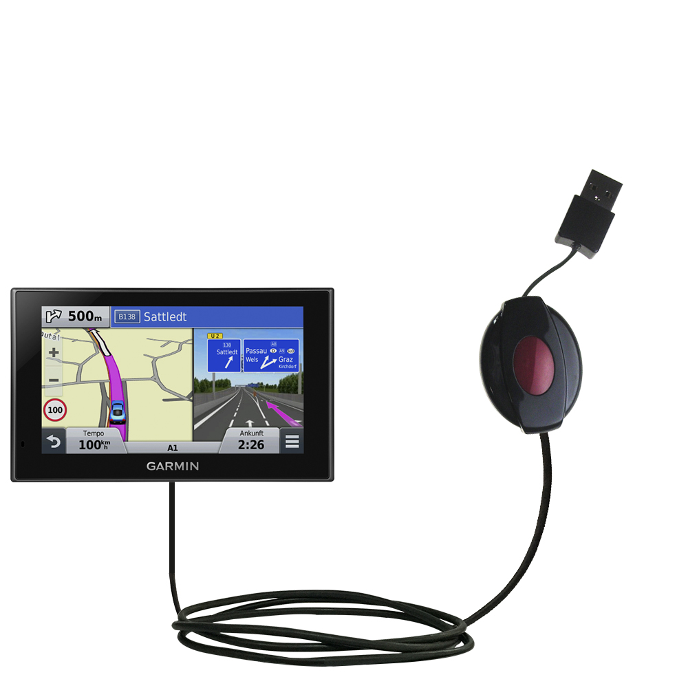 Retractable USB Power Port Ready charger cable designed for the Garmin nuvi 2789 LMT and uses TipExchange