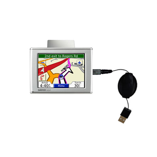 Retractable USB Power Port Ready charger cable designed for the Garmin Nuvi 310 310T and uses TipExchange