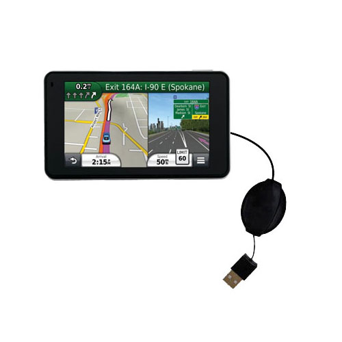 Retractable USB Power Port Ready charger cable designed for the Garmin Nuvi 3490 and uses TipExchange