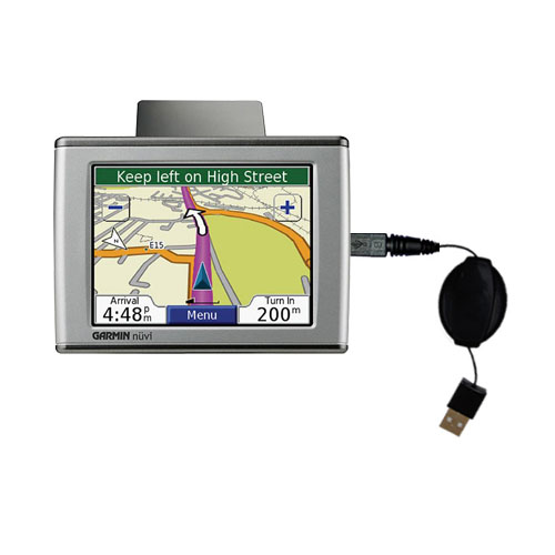 Retractable USB Power Port Ready charger cable designed for the Garmin Nuvi 350 and uses TipExchange