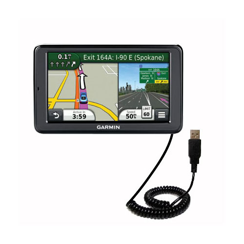 Coiled USB Cable compatible with the Garmin Nuvi 3550