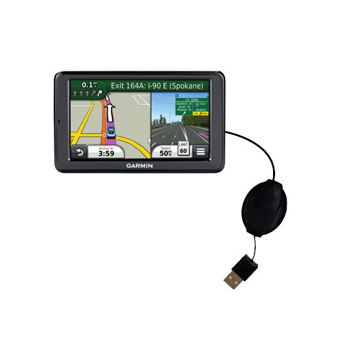 Retractable USB Power Port Ready charger cable designed for the Garmin Nuvi 3550 and uses TipExchange
