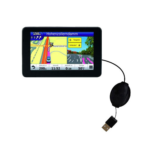Retractable USB Power Port Ready charger cable designed for the Garmin Nuvi 3590 3590LMT and uses TipExchange