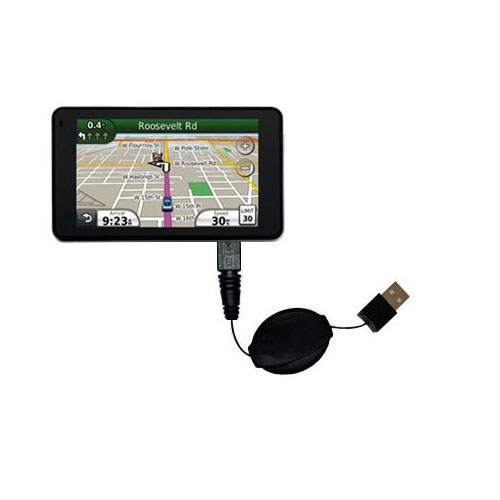 Retractable USB Power Port Ready charger cable designed for the Garmin Nuvi 3760T and uses TipExchange