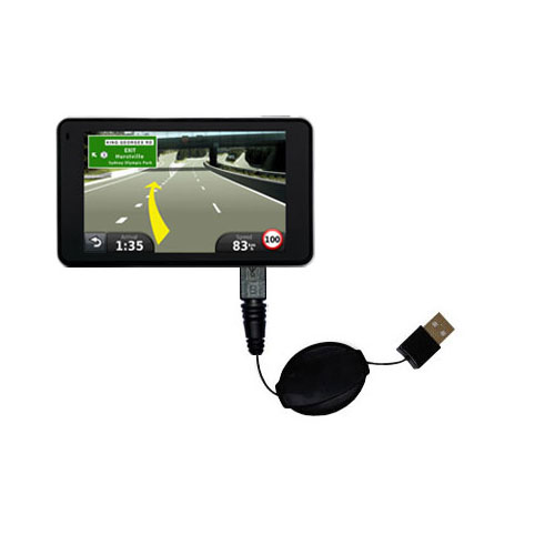 Retractable USB Power Port Ready charger cable designed for the Garmin Nuvi 3790T 3790LMT and uses TipExchange