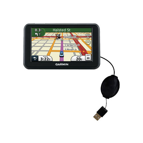 Retractable USB Power Port Ready charger cable designed for the Garmin Nuvi 40 40LM and uses TipExchange