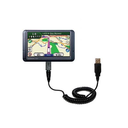 Coiled USB Cable compatible with the Garmin Nuvi 465T 465LMT