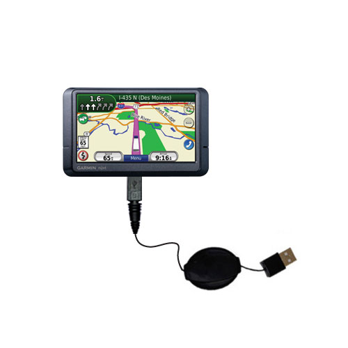 Retractable USB Power Port Ready charger cable designed for the Garmin Nuvi 465T 465LMT and uses TipExchange