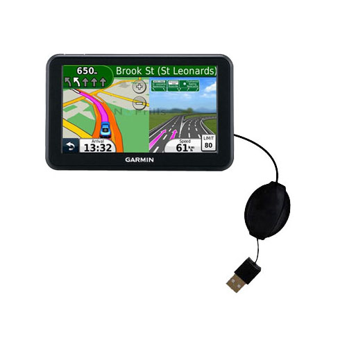 Retractable USB Power Port Ready charger cable designed for the Garmin Nuvi 50 50LM and uses TipExchange