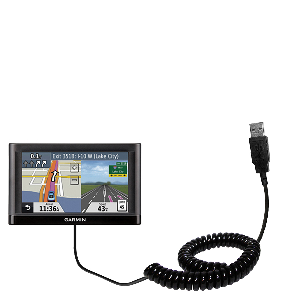 Coiled USB Cable compatible with the Garmin nuvi 52 / nuvi 54