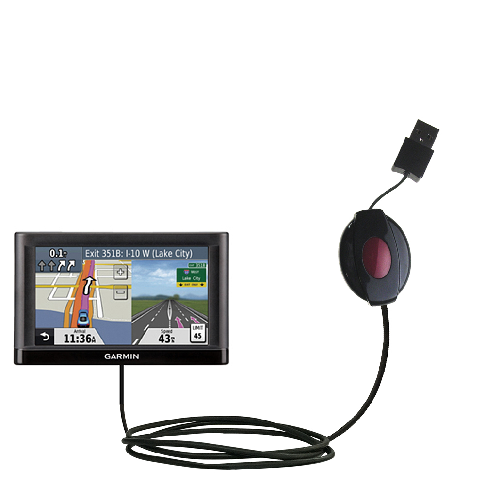 Retractable USB Power Port Ready charger cable designed for the Garmin nuvi 52 / nuvi 54 and uses TipExchange