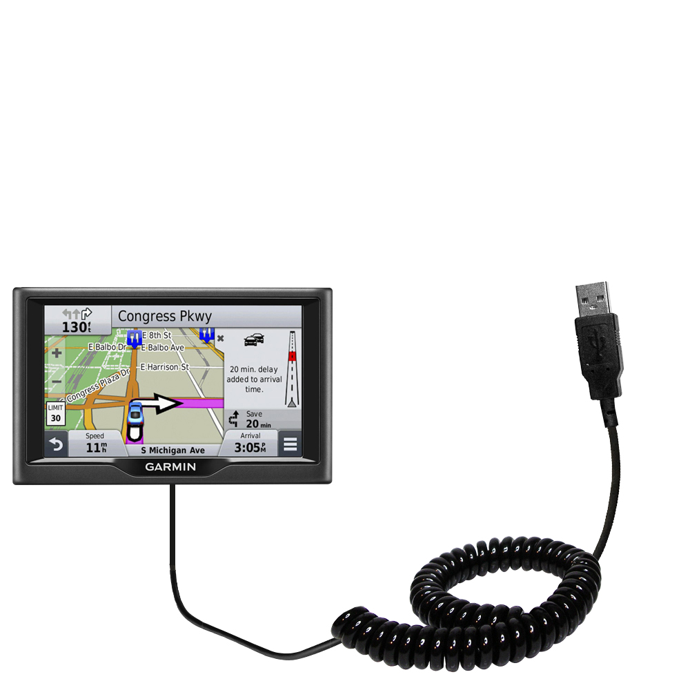 Coiled USB Cable compatible with the Garmin nuvi 67 / 68 LM LMT