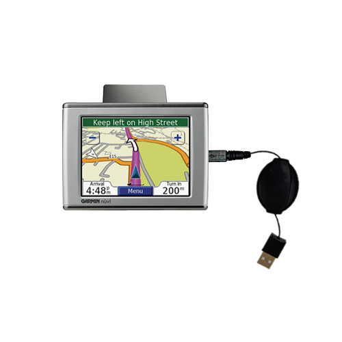 Retractable USB Power Port Ready charger cable designed for the Garmin Nuvi 670 and uses TipExchange