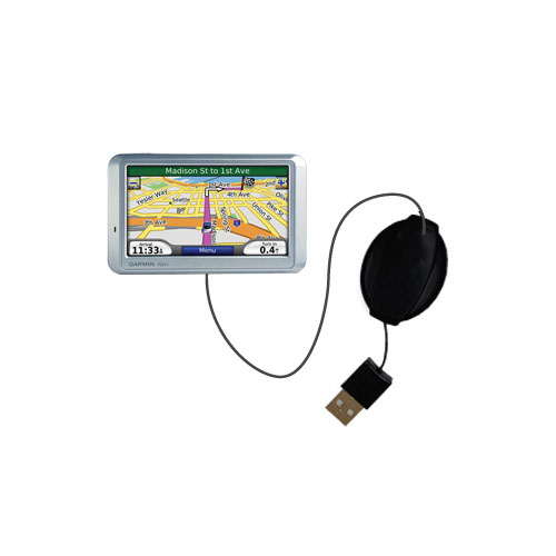 Retractable USB Power Port Ready charger cable designed for the Garmin Nuvi 710 and uses TipExchange