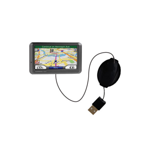 Retractable USB Power Port Ready charger cable designed for the Garmin Nuvi 760 760T and uses TipExchange