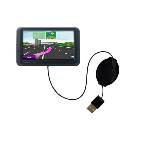 Retractable USB Power Port Ready charger cable designed for the Garmin nuvi 765 and uses TipExchange