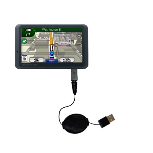 Retractable USB Power Port Ready charger cable designed for the Garmin Nuvi 765T and uses TipExchange