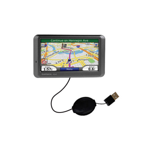 Retractable USB Power Port Ready charger cable designed for the Garmin Nuvi 770 and uses TipExchange