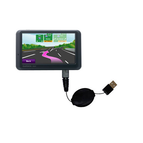 Retractable USB Power Port Ready charger cable designed for the Garmin Nuvi 775TFM and uses TipExchange