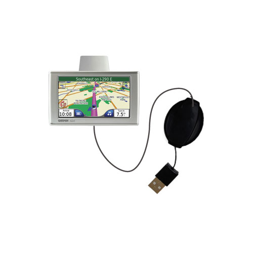 Retractable USB Power Port Ready charger cable designed for the Garmin Nuvi 780 and uses TipExchange