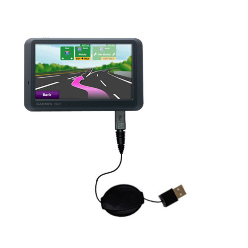 Retractable USB Power Port Ready charger cable designed for the Garmin Nuvi 785T and uses TipExchange